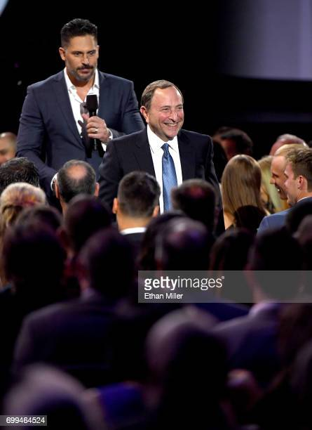 Commissioner Gary Bettman has his seat moved by host Joe Manganiello during the 2017 NHL Awards and Expansion Draft at TMobile Arena on June 21 2017...
