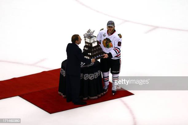 Commissioner Gary Bettman names Patrick Kane of the Chicago Blackhawks the winner of the Conn Smythe Trophy after defeating the Boston Bruins in Game...