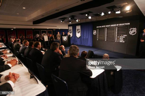 Commissioner Gary Bettman of the National Hockey League presides over the NHL draft lottery at the Sheraton New York Hotel and Towers on July 22 2005...