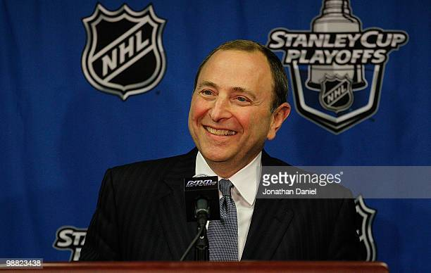 Commissioner Gary Bettman of the National Hockey League speaks at a press conference before the Chicago Blackhawks take on the Vancouver Canucks in...