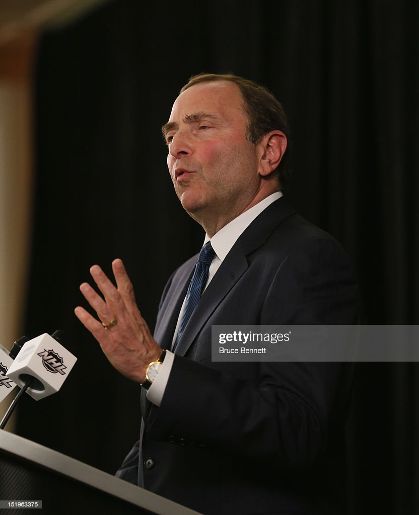 Commissioner <a gi-track='captionPersonalityLinkClicked' href=/galleries/search?phrase=Gary+Bettman&family=editorial&specificpeople=215089 ng-click='$event.stopPropagation()'>Gary Bettman</a> of the National Hockey League speaks to the media at Crowne Plaza Times Square on September 13, 2012 in New York City.