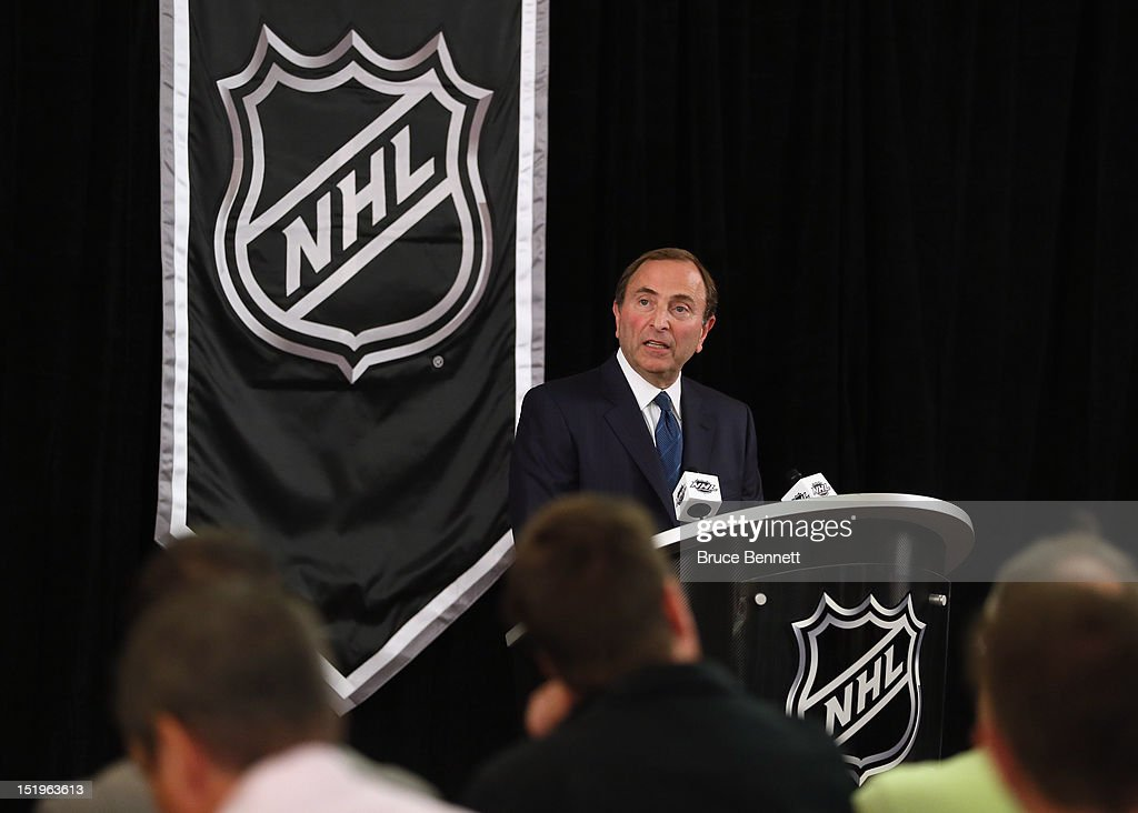 Commissioner Gary Bettman of the National Hockey League speaks to the media at Crowne Plaza Times Square on September 13, 2012 in New York City.