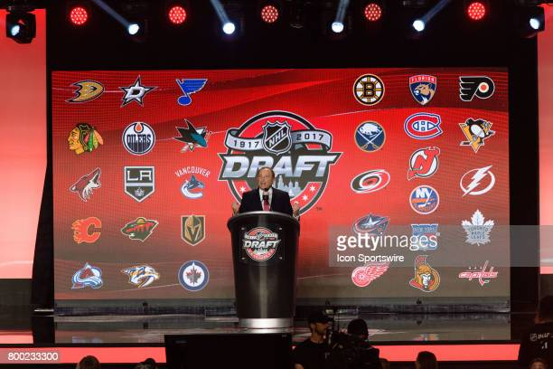 Commissioner Gary Bettman prior to the first round of the 2017 NHL Draft on June 23 at the United Center in Chicago IL