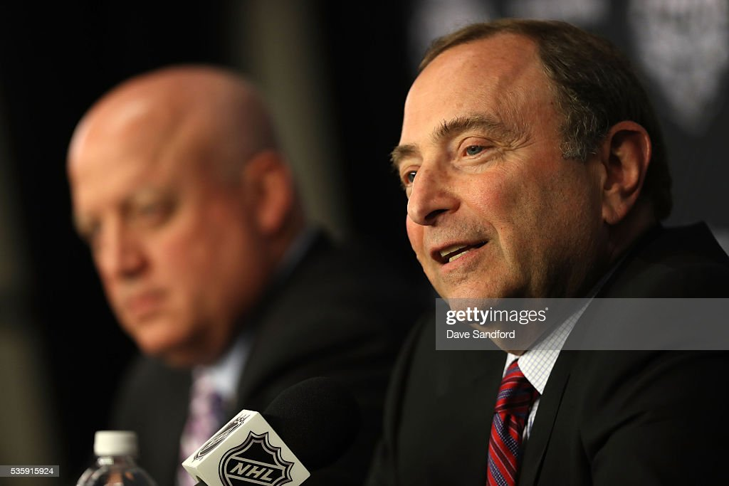Commissioner <a gi-track='captionPersonalityLinkClicked' href=/galleries/search?phrase=Gary+Bettman&family=editorial&specificpeople=215089 ng-click='$event.stopPropagation()'>Gary Bettman</a>, right, and Deputy NHL Commissioner <a gi-track='captionPersonalityLinkClicked' href=/galleries/search?phrase=Bill+Daly&family=editorial&specificpeople=1080836 ng-click='$event.stopPropagation()'>Bill Daly</a> speak during a press conference prior to Game One of the 2016 NHL Stanley Cup Final at Consol Energy Center on May 30, 2016 in Pittsburgh, Pennsylvania.