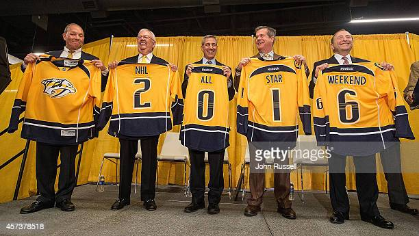 Commissioner Gary Bettman right with Nashville Mayor Karl Dean Bridgestone Americas CEO Gary Garfield Nashville Predators Chairman/Governor Tom...