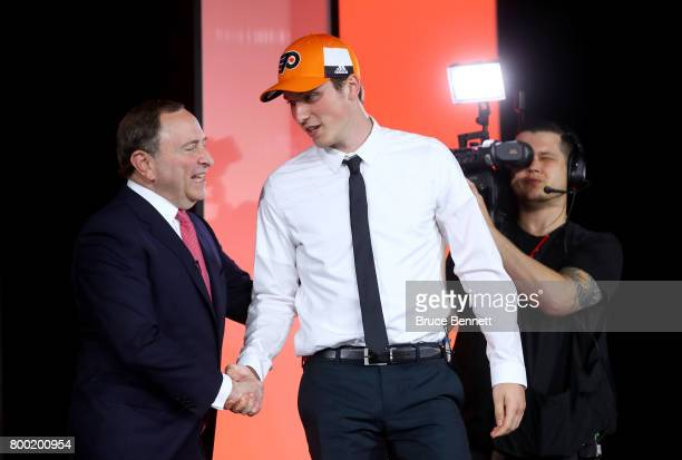 Commissioner Gary Bettman shakes hands with Nolan Patrick after being selected second overall by the Philadelphia Flyers during the 2017 NHL Draft at...