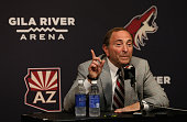 NHL commissioner Gary Bettman speaks at a press conference before the NHL game between the Arizona Coyotes and the Winnipeg Jets at Gila River Arena...