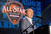 Commissioner Gary Bettman speaks at the Grand Opening Ceremony of the 2016 NHL All Star Festivities at the Bridgestone Winter Park Honda Stage at...