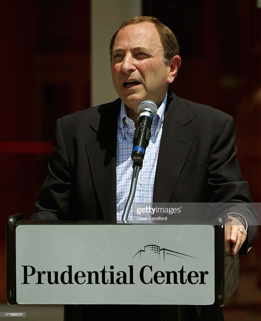 NHL commissioner <a gi-track='captionPersonalityLinkClicked' href=/galleries/search?phrase=Gary+Bettman&family=editorial&specificpeople=215089 ng-click='$event.stopPropagation()'>Gary Bettman</a> speaks at the New Jersey Legacy Tree Project Press Conference at Prudential Center on June 29, 2013 in Newark, New Jersey. As part of the NHL's commitment to support the local environment of host cities for NHL events through its NHL Green initiative, the NHL Foundation has donated 30 trees to the Devils Care Foundation.