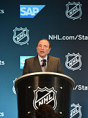 Commissioner Gary Bettman speaks at the NHL/SAP press conference unveiling a new statistics platform at Levi's Stadium on February 20 2015 in Santa...
