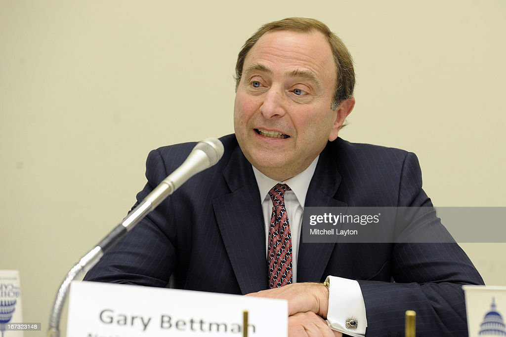 Commissioner <a gi-track='captionPersonalityLinkClicked' href=/galleries/search?phrase=Gary+Bettman&family=editorial&specificpeople=215089 ng-click='$event.stopPropagation()'>Gary Bettman</a> speaks during a Congressional Hockey Caucus briefing at the Rayburn Building on April 24, 2013 in Washington, DC.