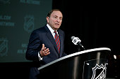 Commissioner Gary Bettman speaks during a press conference as part of the 2015 NHL AllStar Weeknd at the Nationwide Arena on January 24 2015 in...