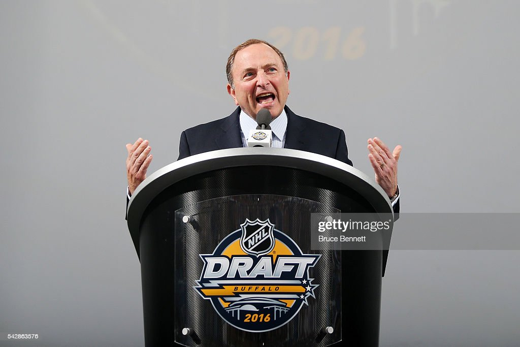Commissioner <a gi-track='captionPersonalityLinkClicked' href=/galleries/search?phrase=Gary+Bettman&family=editorial&specificpeople=215089 ng-click='$event.stopPropagation()'>Gary Bettman</a> speaks during round one of the 2016 NHL Draft on June 24, 2016 in Buffalo, New York.