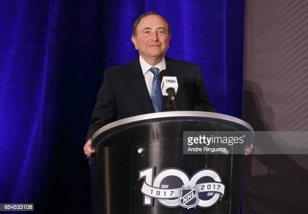 Commissioner Gary Bettman speaks during the 2017 Scotiabank NHL 100 Classic announcement at the Chateau Laurier on March 17 2017 in Ottawa Ontario...