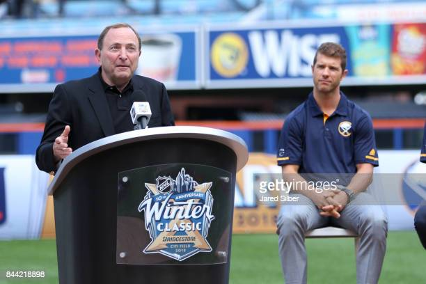 Commissioner Gary Bettman speaks during the 2018 Bridgestone NHL Winter Classic Press Conference at Citi Field on September 8 2017 in Queens New York