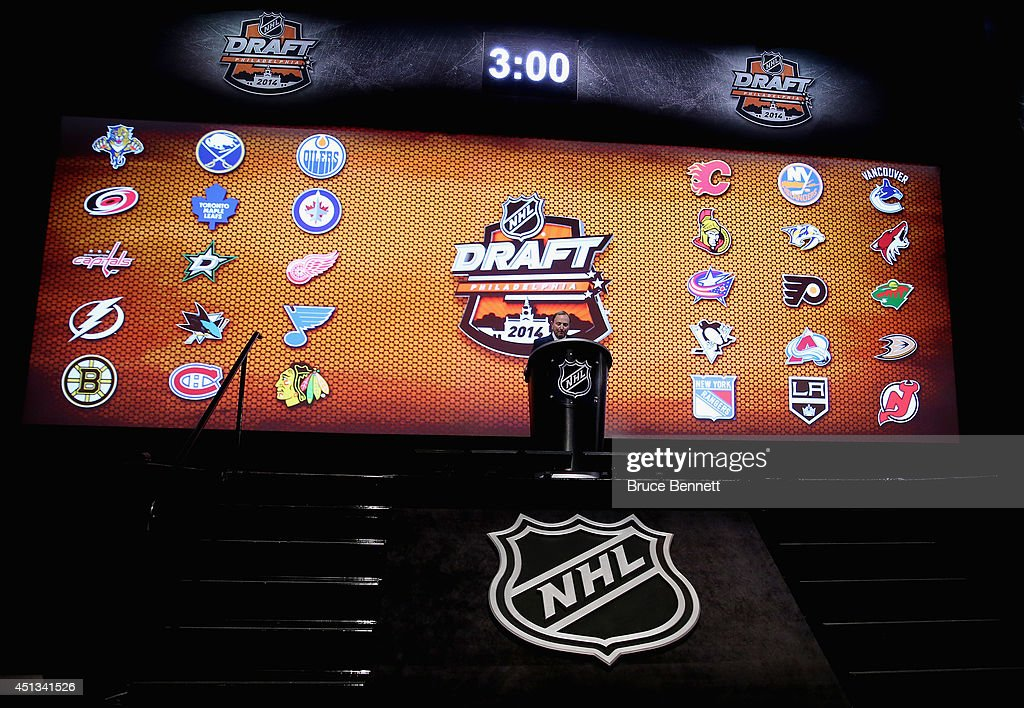 Commissioner Gary Bettman speaks during the first round of the 2014 NHL Draft at the Wells Fargo Center on June 27, 2014 in Philadelphia, Pennsylvania.