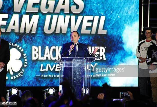 NHL commissioner Gary Bettman speaks during the Las Vegas NHL team name Unveiling ceremony on November 22 at The Park at TMobile Arena in Las Vegas NV