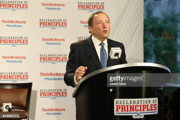 Commissioner Gary Bettman speaks during the NHL Declaration of Principles press conference in NYC at Del Friscos on September 6 2017 in New York City