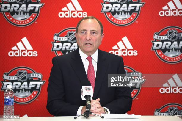 NHL commissioner Gary Bettman speaks during the NHL NHLPA NCAA Press Conference before the 2017 NHL Draft at United Center on June 23 2017 in Chicago...