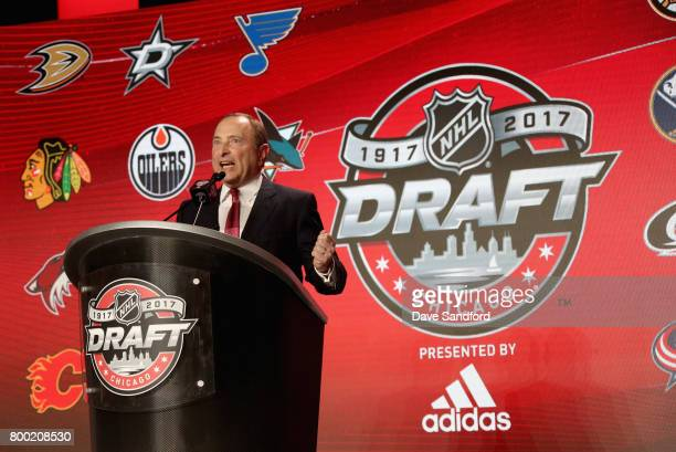 Commissioner Gary Bettman speaks onstage during Round One of the 2017 NHL Draft at United Center on June 23 2017 in Chicago Illinois