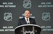 Commissioner Gary Bettman speaks onstage during the 2015 NHL AllStar Weekend Commissioners Press Conference at Nationwide Arena on January 24 2015 in...