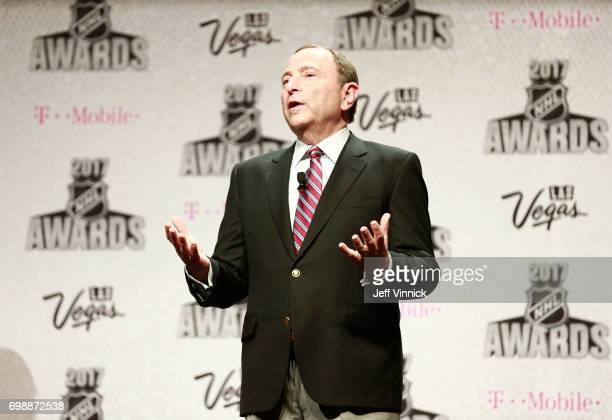 Commissioner Gary Bettman speaks onstage during the 2017 NHL Humanitarian Awards on June 20 2017 in Las Vegas Nevada