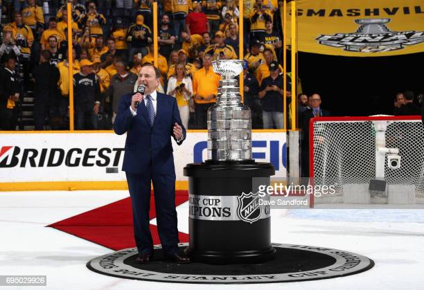 NHL commissioner Gary Bettman speaks to the crowd before presenting the Conn Smythe Trophy after the Penguins defeated the Nashville Predators 20 to...