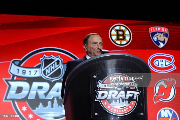 Commissioner Gary Bettman speaks to the crowd during the 2017 NHL Draft at the United Center on June 23 2017 in Chicago Illinois
