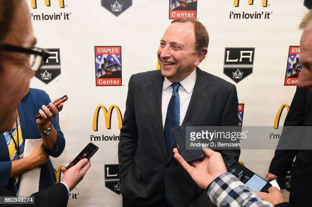 Commissioner Gary Bettman speaks to the media before a game between the Calgary Flames and the Los Angeles Kings at STAPLES Center on October 11 2017...