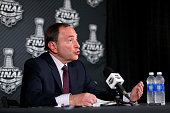 Commissioner Gary Bettman speaks to the media before Game One of the 2015 NHL Stanley Cup Final between the Tampa Bay Lightning and the Chicago...