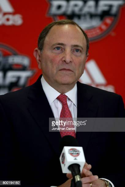 Commissioner Gary Bettman speaks to the media during a press conference for the 'Hockey Is For Everyone' Chicago Blackhawks Youth Clinics prior to...