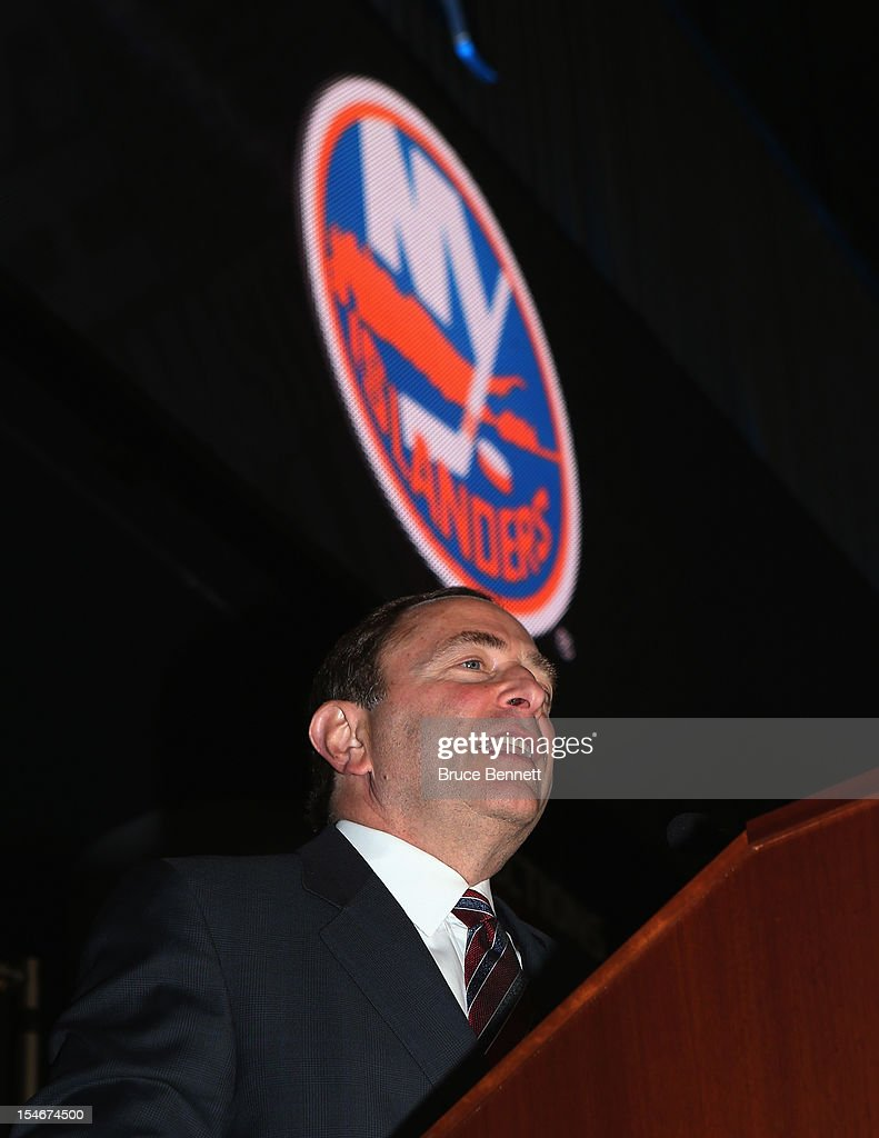 Commissioner Gary Bettman speaks with the media at a press conference announcing the New York Islanders' move to Brooklyn in 2015 at the Barclays Center on October 24, 2012 in the Brooklyn borough of New York City.