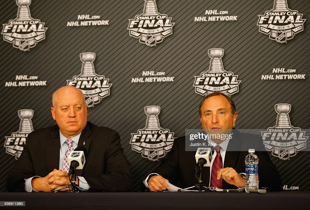 Commissioner <a gi-track='captionPersonalityLinkClicked' href=/galleries/search?phrase=Gary+Bettman&family=editorial&specificpeople=215089 ng-click='$event.stopPropagation()'>Gary Bettman</a> (R) speaks with the media during a press conference as NHL Deputy Commissioner and chief legal officer <a gi-track='captionPersonalityLinkClicked' href=/galleries/search?phrase=Bill+Daly&family=editorial&specificpeople=1080836 ng-click='$event.stopPropagation()'>Bill Daly</a> (L) looks on prior to Game One of the 2016 NHL Stanley Cup Final between the Pittsburgh Penguins and the San Jose Sharks at Consol Energy Center on May 30, 2016 in Pittsburgh, Pennsylvania.