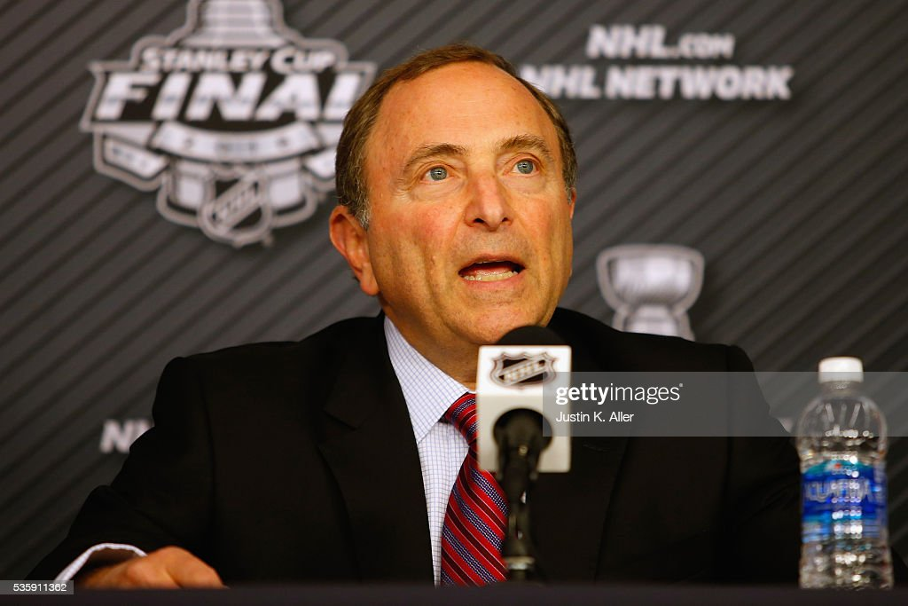 Commissioner <a gi-track='captionPersonalityLinkClicked' href=/galleries/search?phrase=Gary+Bettman&family=editorial&specificpeople=215089 ng-click='$event.stopPropagation()'>Gary Bettman</a> speaks with the media during a press conference prior to Game One of the 2016 NHL Stanley Cup Final between the Pittsburgh Penguins and the San Jose Sharks at Consol Energy Center on May 30, 2016 in Pittsburgh, Pennsylvania.