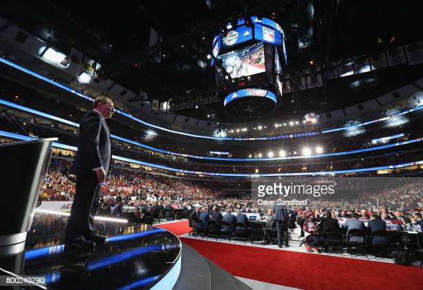 Commissioner Gary Bettman stands onstage during Round One of the 2017 NHL Draft at United Center on June 23 2017 in Chicago Illinois