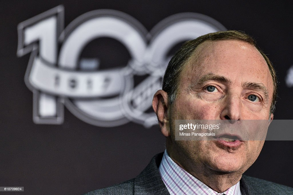 Commissioner Gary Bettman unveils the League's Centennial celebration plans for 2017 during a press conference at the World Cup of Hockey 2016 at Air Canada Centre on September 27, 2016 in Toronto, Ontario, Canada.