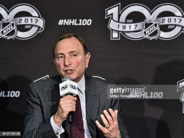Commissioner Gary Bettman unveils the League's Centennial celebration plans for 2017 during a press conference at the World Cup of Hockey 2016 at Air...