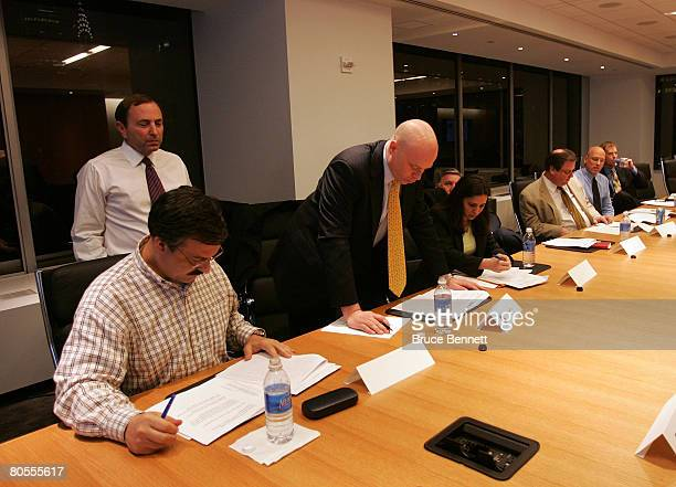 Commissioner Gary Bettman watches over the 2008 NHL Draft Drawing on April 7 2008 at the National Hockey League headquarters in New York City