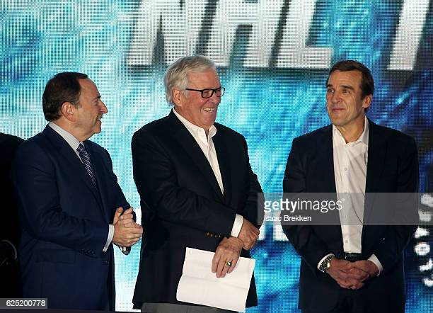 Commissioner Gary Bettman with majority owner Bill Foley and general manager George McPhee unveil the new logo and name for the Vegas Golden Knights...