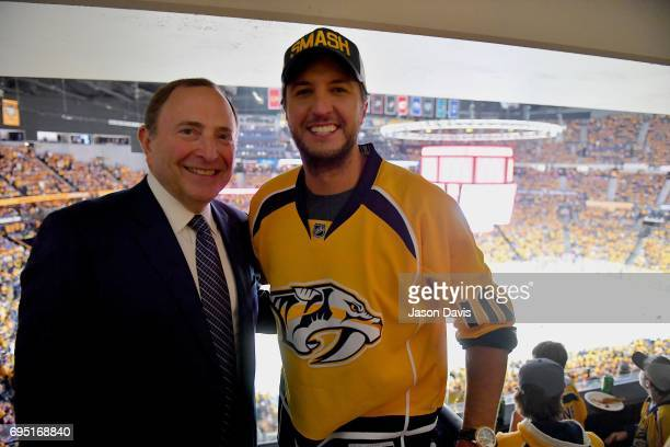 Commissioner Gary Bettmann and Recording Artist Luke Bryan attend the 2017 NHL Stanley Cup Finals Game 6 at Bridgestone Arena on June 11 2017 in...