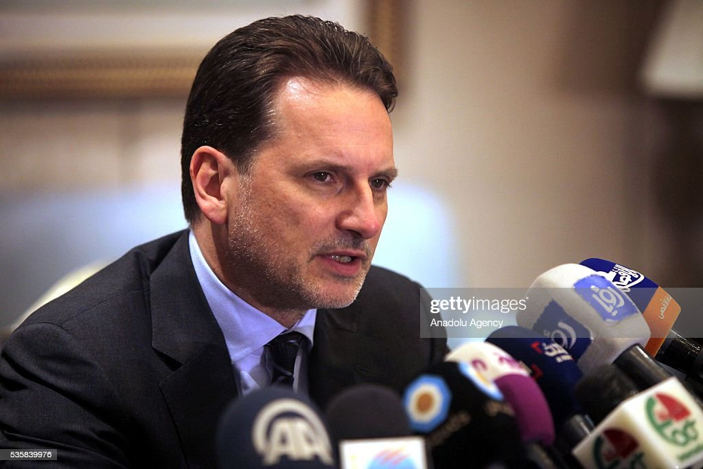 Commissioner General for the United Nations Relief and Works Agency for Palestine Refugees, Pierre Krahenbuhl delivers a speech during a press conference in Amman, Jordan on May 30, 2016.