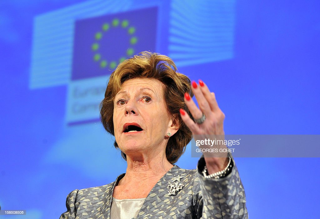EU commissioner in charge of new technologies Neelie Kroes presents the European Commission's digital priorities for 2013 on December 18, 2012 at the EU Headquarters in Brussels.