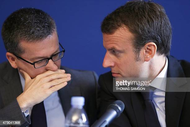 EU commissioner in charge of research science and innovation Carlos Moedas and French Economy Minister Emmanuel Macron attend on May 12 2015 the...