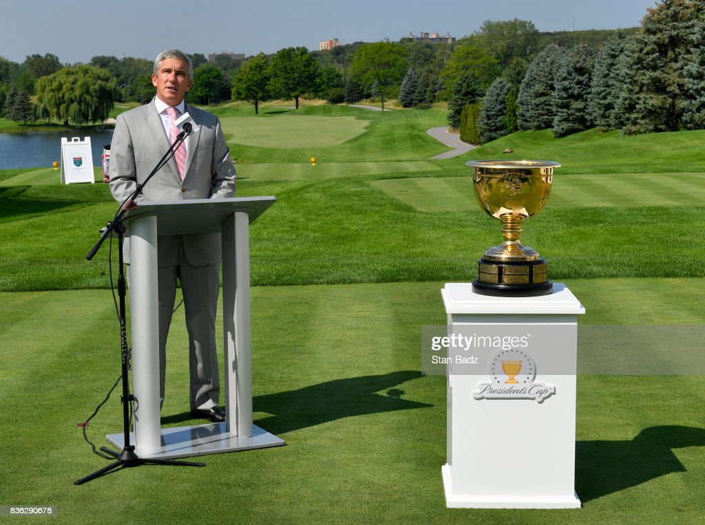 Commissioner Jay Monahan gives opening remarks during the Presidents Cup media day at Liberty National Golf Club, host course of the 2017 Presidents Cup in Jersey City, New Jersey on August 21, 2017.