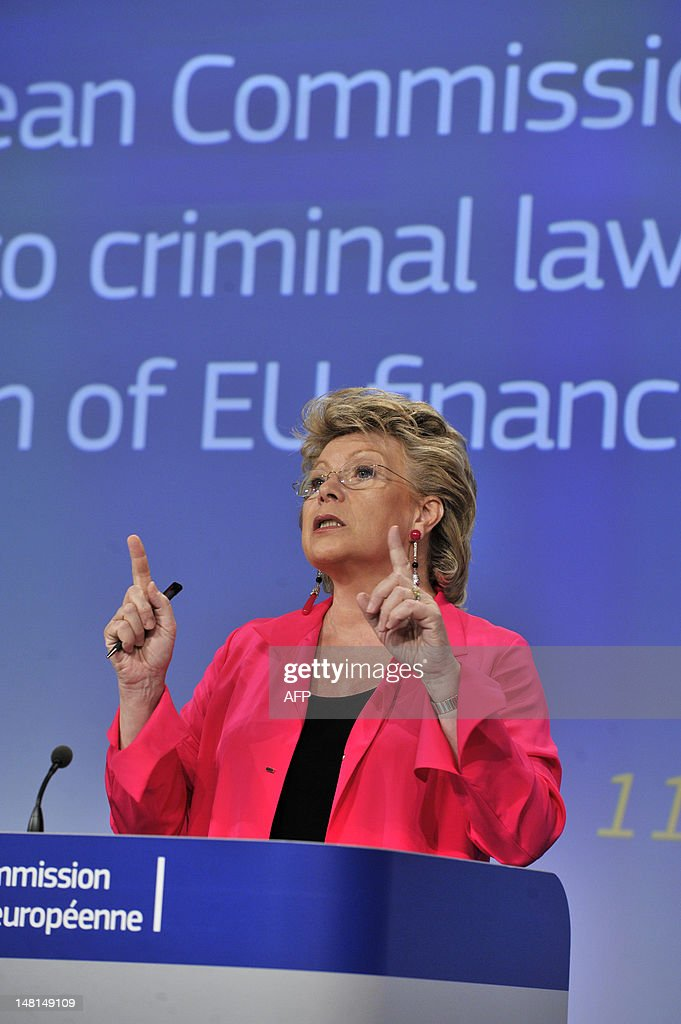 EU commissioner Justice, Fundamental Rights and Citizenship Viviane Reding gives a press conference on July 11, 2012 at the EU Headquarters in Brussels on the commission's proposal to strengthen the use of criminal law against fraudsters so as to better protect taxpayers' money.