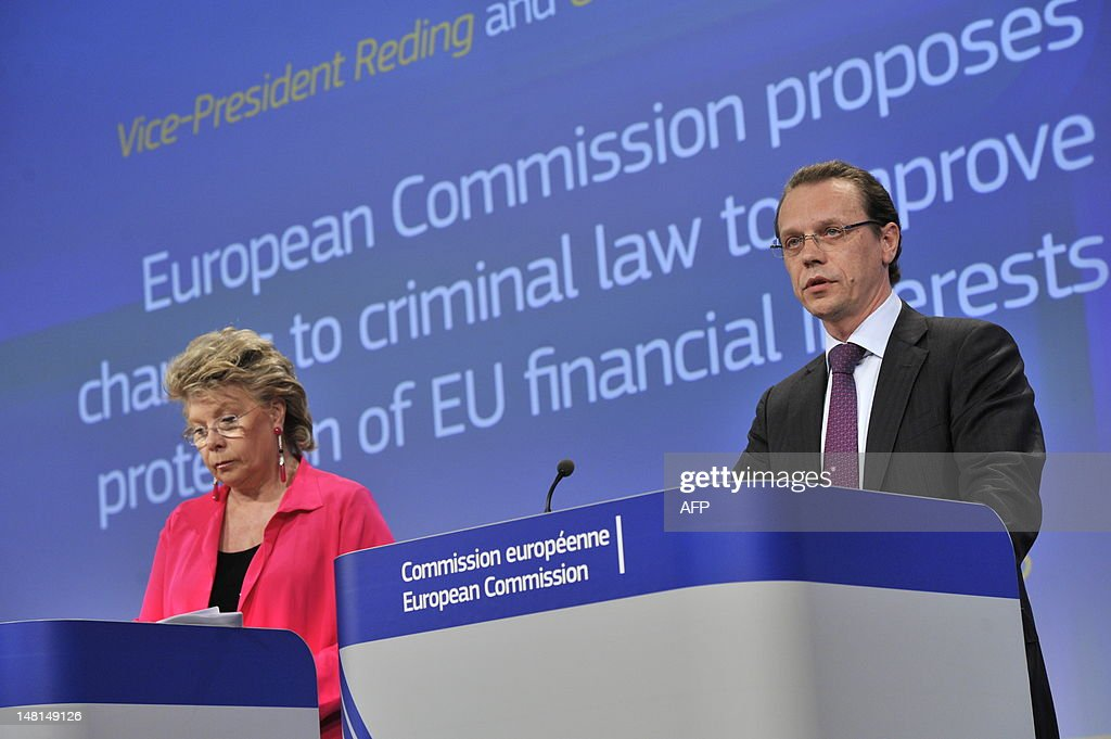 EU commissioner Justice, Fundamental Rights and Citizenship Viviane Reding (L) and EU commissioner Taxation and Customs Union, Audit and Anti-Fraud Algirdas Semeta (R) give a press conference on July 11, 2012 at the EU Headquarters in Brussels on the commission's proposal to strengthen the use of criminal law against fraudsters so as to better protect taxpayers' money. AFP PHOTO / GEORGES GOBET