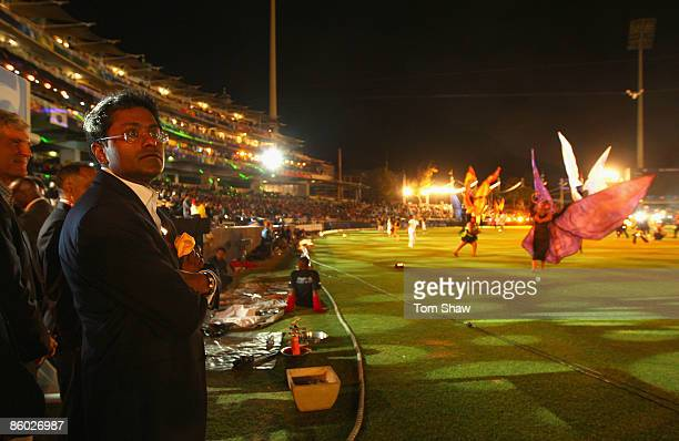 Commissioner Lalit Modi watches the opening ceremony during the IPL T20 match between Rajasthan Royals and Royal Challengers Bangalore at Newlands...