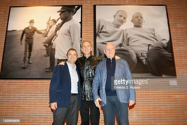Commissioner of Culture Dino Gasperini actor Matthew Modine and Festival Director Marco Mueller attend the Full Metal Jacket Diary Redux' Exhibition...