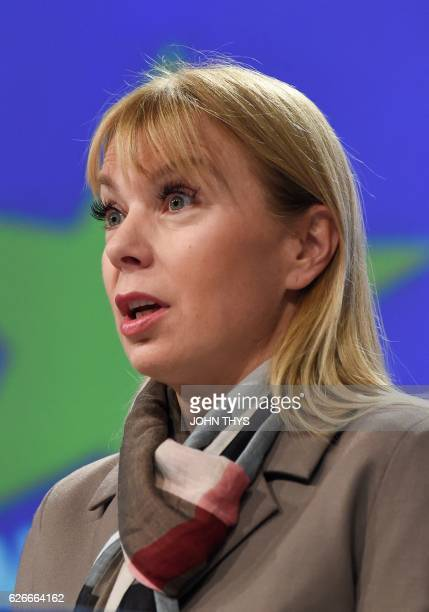EU Commissioner of Internal Market Industry Entrepreneurship and SMEs Elzbieta Bienkowska gives a joint press with High Representative of the Union...