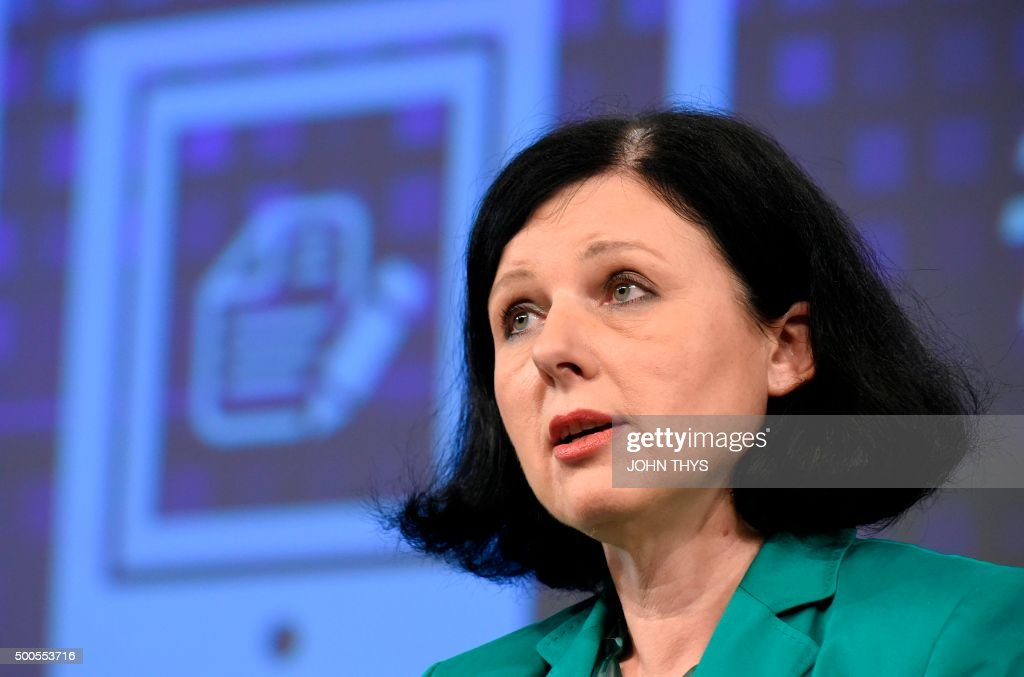 EU Commissioner of Justice Consumers and Gender Equality Vera Jourova speaks during a joint press a joint press conference on the subject of a...
